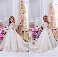 Wholesale Long Tulle Flowergirl Dresses - Floral Lace Flower Girl Dresses 2017 Ball Gowns Child Pageant Dresses Long Train Beautiful Little Kids FlowerGirl Dress Formal Wear