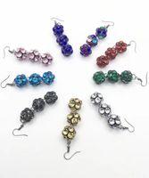 Wholesale Sphere Earrings - LONG SPARKLY RHINESTONE SPHERES DANGLE EARRINGS GUN METAL PLATED NINE COLORS AVAILABLE FOR GIRLS