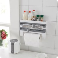 Wholesale Paper Cut Roll - Wholesale- Kitchen With Cutting Cling Film Storage Frame Paper Towel Racks