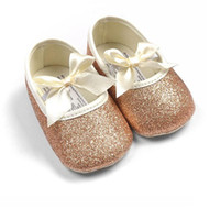 Wholesale Gold Glitter Baby Shoes - Wholesale- Glitter Baby Shoes Flash Gold Bow Soft Bottom Sneaker Anti-slip Soft Sole Toddler 0-18M