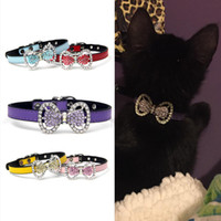 Wholesale Puppy Collars Rhinestones Wholesale - 10pcs in one lot Assorted Colors Rhinestone Bow Leather Collar for Puppy Dog or Cat