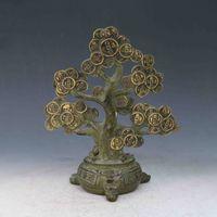 argent arbre art achat en gros de-Antiquité Collection Art Populaire Folk Art Chinois Bronze Doré Sculpté à la main Statues de l'argent X0291