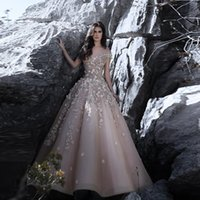 Wholesale Dresses Exquisite Flower - Exquisite Champagne Organza Off-Shoulder Wedding Dress with Handmade Flowers A-Line Bridal's Gown Floor Length Reception Dress Formal Wear