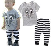 Wholesale outfit mouse - Ins Summer Boys Clothing Set Kids Baby Cartoon Mouse Cotton Tops Tshirt + Stripe Pants 2pcs Children Outfits Clothes Suit 13225