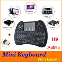 Wholesale Mini Keyboard With backlit backlighting Wireless H9 Fly Air Mouse Multi Media Remote Control Touchpad Handheld For TV BOX Android Mini PC