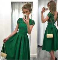 Wholesale Short Jade Dresses - Cheap Jade Green Short Homecoming Dresses 2016 Lace Appliques Cap Sleeves Party Gowns Backless Pleats Satin Vintage Knee Length Prom Dress