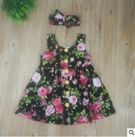 Wholesale Girl Wood Buttons - Baby Dress with Headband 2017 Summer Princess Sleeve Floral Dress Wood Button Flower Printed Dresses for Girls Toddler Infant Clothes