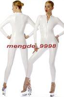 catsuit zipper xl venda por atacado-New White Brilhante Metálico Bodysuit Catsuit Trajes Sexy Frente Zipper Terno Do Corpo Unisex Trajes Cosplay Outfit Cosplay Halloween Terno M072
