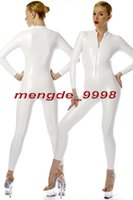 ingrosso vestiti bianchi sexy del corpo-New White Shiny Metallic Tuta Catsuit Costumi Sexy Front Zipper Body Suit Unisex Costumi Cosplay Outfit Halloween Cosplay Suit M072