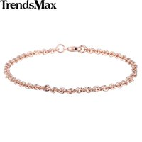 Trendmax Trendy 3mm CUT Rolo Round Link Donna Womens Chain Ladies Ragazze Amicizia Chain Rose Gold Filled Bracelet GB395