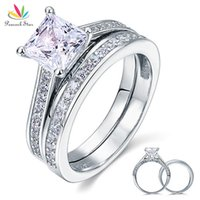 Wholesale Peacock Rings - Peacock Star 1.5 Ct Princess Cut Created Diamond Solid 925 Sterling Silver 2-Pcs Wedding Promise Engagement Ring Set CFR8009S