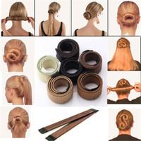 Wholesale Wholesale Wedding Hair Twists - Free shipping New 1pc Magic Hair Styling Multi Function Hair Donut Girls Hair Accessories French Twist Magic DIY Tool Bun Maker