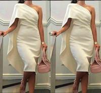 Wholesale Green One Shoulder Tea Dress - 2017 Short Cheap Women Cocktail Dresses One Shoulder Sheath Prom Dresses With Cape Tea Length Party Dress Plus Size Formal Homecoming Gowns