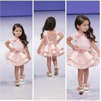 Wholesale Toddlers Satin Shirts - Cupcake Kids Dresses 2017 Pageant Dresses for Girls Toddler Backless Short Sleeves Little Flower Girls Special Gowns