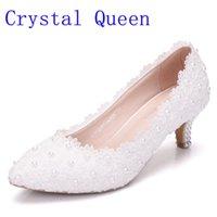 beyaz prenses düğün ayakkabıları toptan satış-Kristal Kraliçe Kadın Ayakkabı Beyaz Dantel Düğün Ayakkabı 5 CM Yüksek Topuklar Ayakkabı Beyaz Dantel Tatlı Prenses Parti Topuklar Pompalar