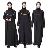 mujeres traje étnico al por mayor-Musulmán Hui nacionalidad Arabia túnicas vestido musulmán de las mujeres nuevas túnicas flojas con pañuelo rezo vestido étnico traje Vestidos venta al por mayor