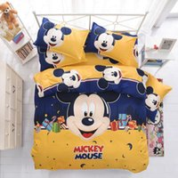 Wholesale New Bedding Cartoon Hello Kitty Mickey Mouse Duvet Cover Sets Soft Polyester Bed Linen Flat Bed Sheet Set Pillowcase