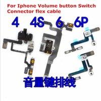 Wholesale Iphone 4s Volume Buttons - Free shipping New Original Power Mute Volume Button Switch Connector On Off Flex Cable Ribbon Replacement for iPhone 4 4S 5 5S 6 6S 6 PLUS