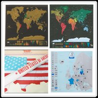 Wholesale Black Wall Boxes - Scratch Map World World mini USA Europe 4 kinds Travel Map Packed in Card Tube Gift