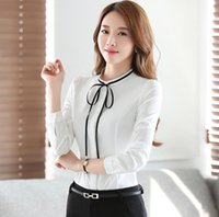 Wholesale New Autumn Stand Up - New Spring Autumn Lady's OL Shirts Women's Lace Up Bowknot Casual Tops Blouse Long Sleeve Solid Color Shirts White Black Blue