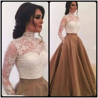 Wholesale Taffeta Pleated Skirt - 2018 Stylish Saudi Arabia High Neck Long Sleeves Evening Dresses White Top Lace With Gold Skirt Ball Gown Prom Gowns Special Occasion Dress