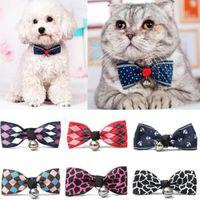 ingrosso colletto di bowtie-Lacontrie Hot Sales Multi Colori Lovely Bow Cats Dog Tie Cani Bowtie Collar Pet Supplies Campana Cravatta Collare 1pz