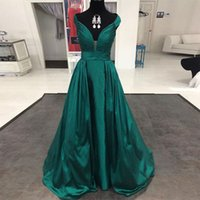 Wholesale Dressess For Party - Formal 2017 Dark Green Prom Dressess Off the Shoulder Sleeveless Evening Dresses V-Neck Long Party Dress for Women Wear