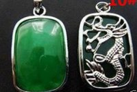 AAA Hot! Fashion Jewelry Green Jade Forme Silver Emerald Pendentif / collier