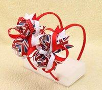 arcos patriotas al por mayor-DHL LIBRE la bandera de Union Jack Striped Ribbon Plastic Hairband Patriotic Hair Bows Para Niños Niñas Diademas Niños Accesorios