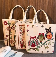 Wholesale Large Owl Tote Bags - Women Handbag Owl And Floral Print Canvas Bag Women Large Capacity Shopping Shoulder Bags Casual Beach Bags Tote 7 design KKA2251