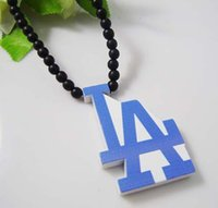Wholesale Good Wood Team Necklace - LA Pendant Good Wood Hip-Hop Wooden NYC Fashion Casual Team Logo Necklace