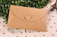 Wholesale Wholesalers For Invitation Papers - 20Pcs Lot 11*17.5cm Heart Clasp Kraft Paper Envelope For Wedding Party Invitation Card DIY Scrapbooking Postcard Photo Or Letter