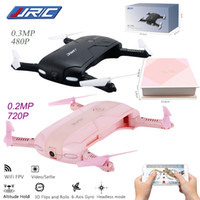 Wholesale jjrc h37 online - 2017 Best Sell JJRC H37 Elfie foldable Mini Selfie Drone JJRC H37 W Camera Altitude Hold FPV Quadcopter WIFI phone Control RC