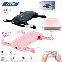 dronlar w kameralar toptan satış-JJRC H37 Elfie katlanabilir Mini Özçekim Drone JJRC H37 W / Kamera Irtifa Tutun FPV Quadcopter WIFI telefon kontrol RC Helikopter Drone
