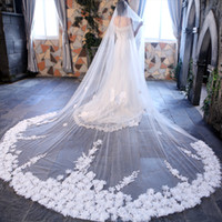 Wholesale 5m Wedding Veil - 1 Layers 3.M 5M 6M Length Bridal Veils Handmade Flower White Ivory Applique Wedding Long Veil Bridal Accessory With Comb Free Shipping