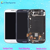 Wholesale Galaxy S3 Logo - Original New for Samsung Galaxy S3 LCD Display Screen and Digitizer Touch Screen With Logo and Frame ,Blue White