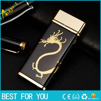 Wholesale Thin Gas Cigarette Lighter - PROMISE Top high quality ultra-thin metal lighter inflatable gas lighter lighters with gift box