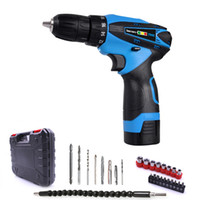 Wholesale Electric Screwdriver Cordless - Free Shipping 16.8v Household Double Speed Cordless Drill Electric Screwdriver Rechargeable Power Tools One Lithium Battery Plastic Box