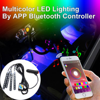 Wholesale Led Interior Neon - Addmotor 4PCS 36Leds LED Strip Light Neon Light RGB Multicolor By Bluetooth Controller APP For Car Interior Lighting
