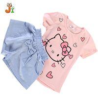 Wholesale Kitty Shorts - New 2017 Summer set Hello Kitty pattern Children clothing Girls Sportswear Set Kids Clothes Cute T-shirt girls clothes Shorts