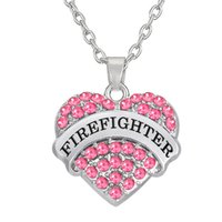 Wholesale wholesale firefighter - Fashion Simple Design factory price zinc alloy Sliver Color crystal message FIREFIGHTER heart dangle necklace woman jewelry