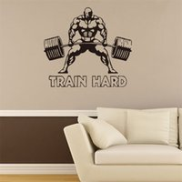 Wholesale Train Wall Art - 57x70cm Man Weightlifting Sport Train Hard Vinyl Wall Stickers Removable Art Mural for Home Decoration Kids' Bedroom