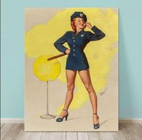 Wholesale Nude Art Oils Women - Framed GIL ELVGREN Police Woman,Pure Handpainted Pinup Girl Art Oil Painting On Quality Canvas Multi Sizes Free Shipping Pin069