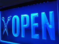 LK753b- OPEN Scissor Barber Shop Cheveux NR LED Neon Light sign