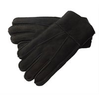 Wholesale Mitten Fingerless Leather - Wholesale- Men Leather Sheepskin Mittens Gloves Fur Winter Warm Vintage Fashion New
