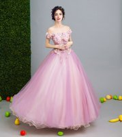 Wholesale Sweet Princess Strapless Embroidery - SSYFashoin 2017 Long Luxury Evening Dress The Bride Princess Sweet Pink Lace Flower Boat Neck Floor-length Prom Party Gown