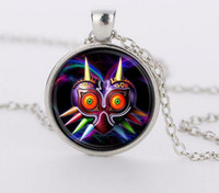 Wholesale Owl Legend - Legend of Zelda Game Majoras Mask Colorful owl Glass Round Pendant Charm Necklace Jewelry gift FTC-N346