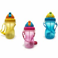 Wholesale Large Drink Glass - Wholesale-Portable Children Pupil Glass Drinking Water Bottle Baby Cartoon Drinkware Juice Bottle With Straw Baby Feeding Training Bottles