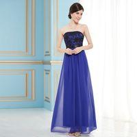 Wholesale Sapphire Blue Chiffon Dress - Sell like hot cakes! Women's Sexy Strapless Sapphire Blue Long Evening Party Dress