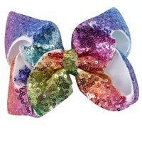 Wholesale Baby Girls Hair Clip - 9 Style Option 4INch 5 Inch 6 INch 8 inch Rainbow Sequin Hair Bow Bling bows Hair Clip Baby Girl Rainbow Bestie Jojo Bows
